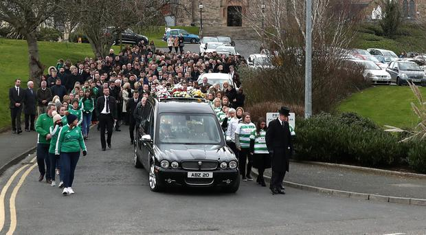 The funeral of Louise Baker, in Downpatrick, February 26, 2018
