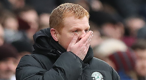 Clash: Neil Lennon was sent off after a row with the referee