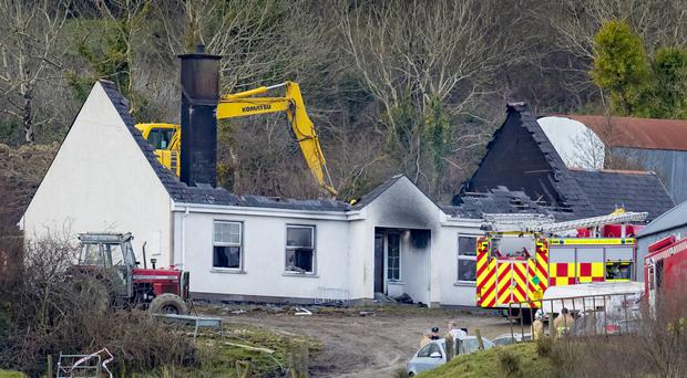 The scene of a fire which has claimed the lives of three people in the Molly Road area of Derrylin on 27th February 2018 (Photo by Kevin Scott / Belfast Telegraph)