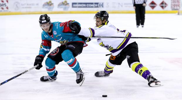 Belfast Giants Sebastien Sylvestre in action last month with Manchester Storm's Linden Springer during an Elite Ice Hockey League game at the SSE Arena, Belfast.