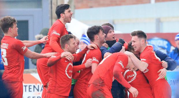 Loughgall's Gary Liggett scored what turned out to be the winner.