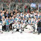 The Belfast Giants celebrate after winning the 2018 Challenge Cup.