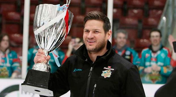 Winner: Giants coach Adam Keefe with Challenge Cup
