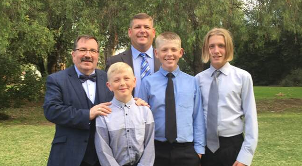 John Scott with grandsons Jackson, JJ, Caleb (dark tie), son Jon and grandfather John Scott.