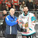 Just champion: Giants skipper Blair Riley lifts the Challenge Cup