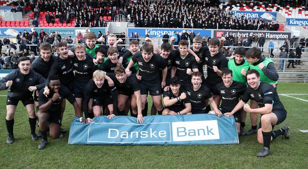 Press Eye - Danske Bank - Schools Rugby - Semi Final - Campbell College vs Methodist College - Kingspan Stadium Tuesday 6th March 2018 Photograph by Declan Roughan Campbell College's full time celebrations after defeating Methodist College