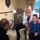 Lights, camera, action: Mark Dobson and mum Jo-Anne being interviewed by Stephen Watson