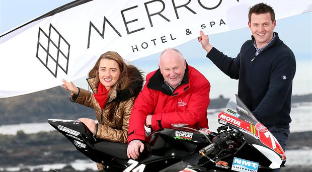 New deal: NW200 Event Director Mervyn Whyte (c) with Donna and Mark Donnelly from new Merrow Hotel and Spa complex