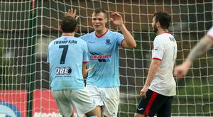 On target: Ballymena ace Leroy Millar struck against the Swifts
