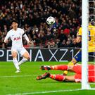 Bright start: Heung-Min Son scores opening goal for Spurs