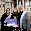 Belfast Lord Mayor Nuala McAllister with councillors Deirdre Hargey and Aileen Graham celebrate International Women's Day.