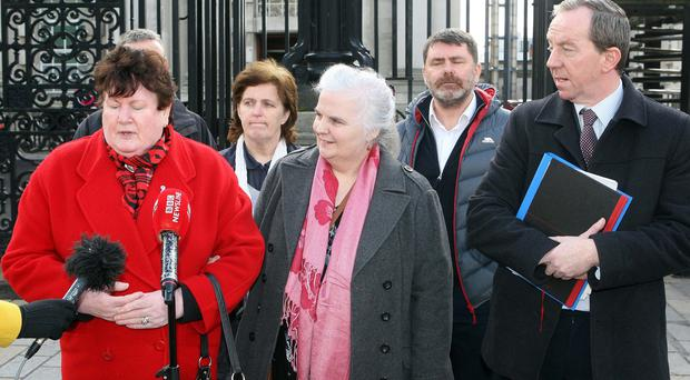 Brigid Hughes challenged ongoing failures by the Executive Office at Stormont, the Justice Department and the Northern Ireland Secretary to put in place adequate funding to prevent further delays in holding legacy inquests. Pic: Freddie Parkinson Presseye