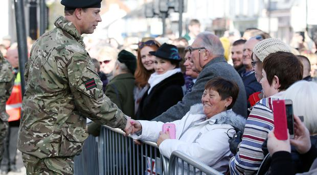 A homecoming parade was held in Lisburn on Friday March 9 for the 2 Rifles who were returning from Iraq. Photo: Johnathan Porter, Press Eye.