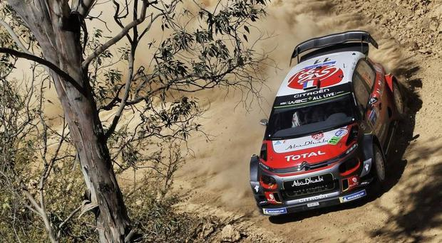 Dirty work: Kris Meeke's Citroen kicks up the Mexican dust