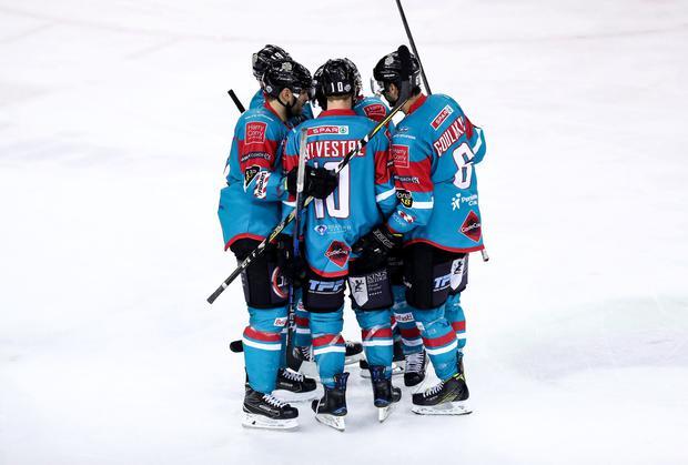 Press Eye - Belfast - Northern Ireland - 10th March 2018 - Photo by William Cherry/Presseye Belfast Giants Sebastien Sylvestre celebrates scoring against the Braehead Clan during Saturday evenings Elite Ice Hockey League game at the SSE Arena, Belfast.