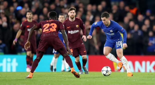 Eden Hazard is one of the options to play up front when Chelsea go to Barcelona