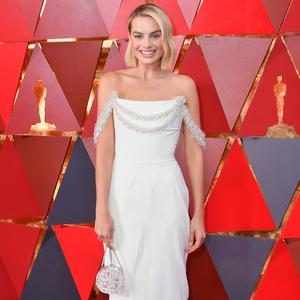 Winning style: Margot Robbie on the red carpet at this year's Oscars