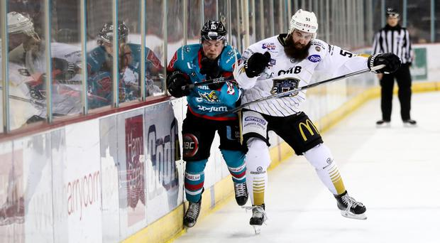 Press Eye - Belfast - Northern Ireland - 11th March 2018 - Photo by William Cherry/Presseye Belfast Giants Darcy Murphy with Nottingham Panthers Zack Phillips during Sunday afternoons Elite Ice Hockey League game at the SSE Arena, Belfast.