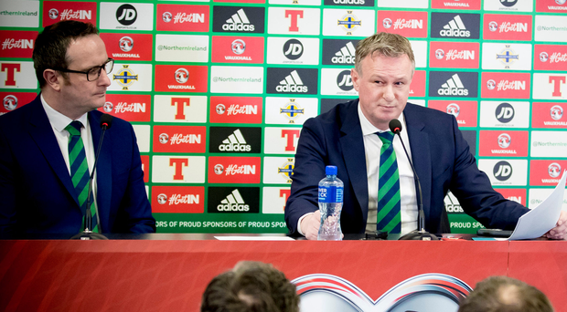 Big issue: Michael O'Neill speaks about eligibility at Windsor Park before naming his squad to face South Korea
