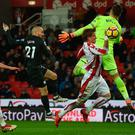 Doubling up: David Silva fires home his second against Stoke