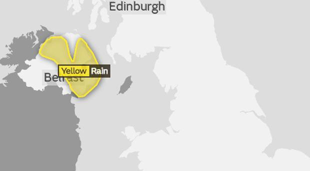 The Met Office have issued a yellow rain warning for Northern Ireland.