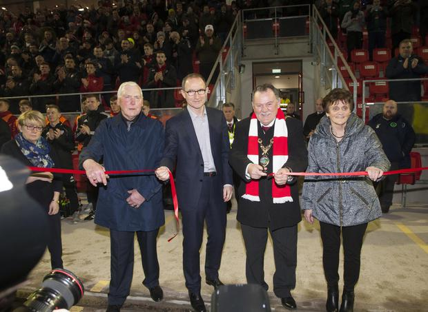 Mayor of Derry City and Strabane District Council cuts the ribbon on Monday night before the Derry City v Limerick City game to officially open the new Mark Farren Stand at the Brandywell. Included in photo are the late Mark's parents, Kathleen and Michael and Republic of Ireland manager Martin O'Neill.