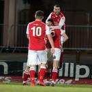 Larne's Marty Donnelly celebrates his side's equalising goal.
