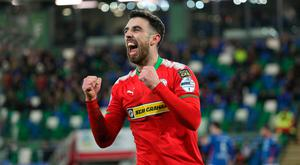Decisive say: Joe Gormley hails his winner at Windsor Park