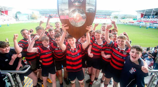 Shield of dreams: Ballymena Academy skipper Adam Lamont lifts the Medallion Shield at the Kingspan Stadium