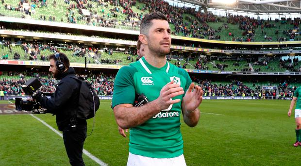 Doubt: Rob Kearney suffered ankle injury against Scotland