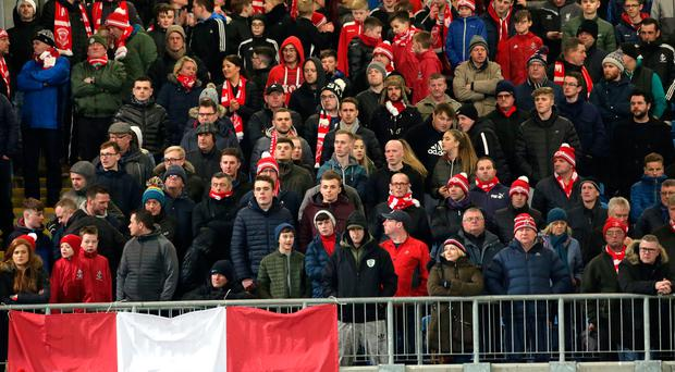 Harbouring hopes: Larne's Red and White Army were out in force at Warden Street