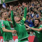 Northern Ireland captain Steven Davis celebrates.