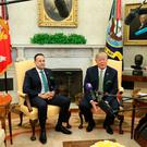 US President Donald Trump as he meets and Irish Taoiseach Leo Varadkar for talks in the Oval Office of the White House in Washington DC, USA. PRESS ASSOCIATION Photo. Picture date: Thursday March 15, 2018. See PA story IRISH Taoiseach. Photo credit should read: Niall Carson/PA Wire
