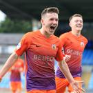 Glenavon's Bobby Burns celebrates scoring at the Ballymena Showgrounds earlier this season.