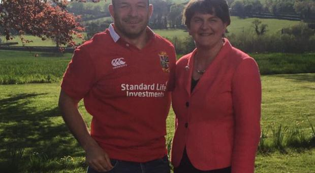 Arlene Foster with Ireland's captain Rory Best / Credit: Arlene Foster