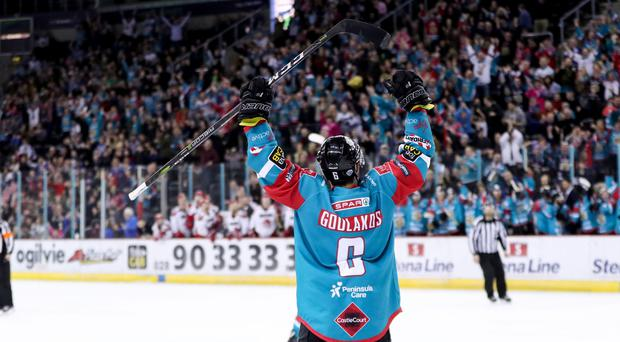 Press Eye - Belfast - Northern Ireland - 16th March 2018 - Photo by William Cherry/Presseye Belfast Giants Spiro Goulakos celebrates scoring against the Cardiff Devils during Friday nights Elite Ice Hockey League game at the SSE Arena, Belfast.