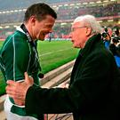 Following in the footsteps: Brian O'Driscoll is congratulated by fellow Slam winner Jack Kyle
