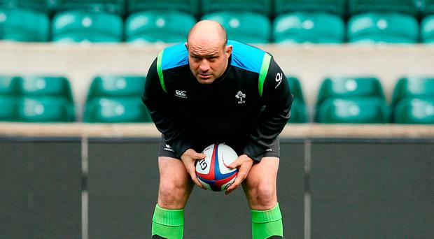 Ready to roar: Rory Best, pictured at his Captain's Run at Twickenham yesterday