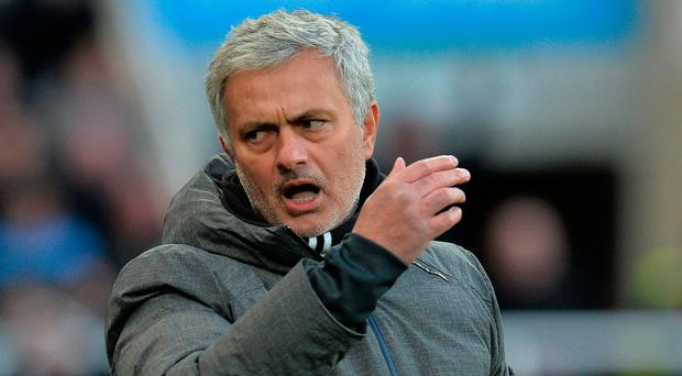 Making a point: Jose Mourinho was keen to defend his record at United