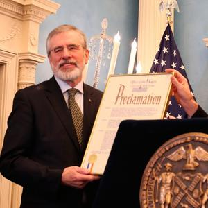 Gerry Adams with New York City Mayor Bill de Blasio at a St Patrick's Day breakfast event at Gracie Mansion in New York.