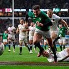 LONDON, ENGLAND - MARCH 17: Jacob Stockdale of Ireland on his way to touching down his sides third try during the NatWest Six Nations match between England and Ireland at Twickenham Stadium on March 17, 2018 in London, England. (Photo by Shaun Botterill/Getty Images)