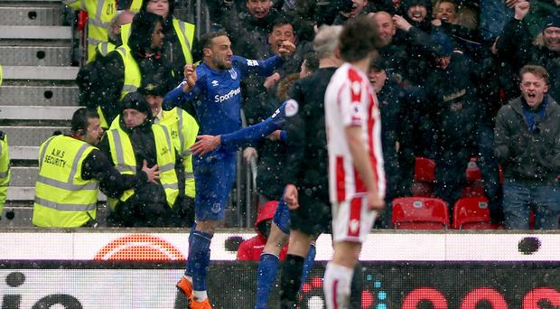 Cenk Tosun celebrates breaking the deadlock (Nigel French/EMPICS)
