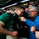 Ireland's Johnny Sexton celebrates with fans after winning the Grand Slam