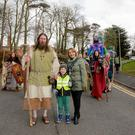 Pictured: Mayor of Newry Mourne and Down District Council, Councillor Roisin Mulgrew, headed the Saint Patrick's Day parade in Downpatrick along with Saint Patrick (Marty Burns, of Magnus Vikings), and Charlie Hamilton-Cooper, aged 5. PressEye - Belfast - Northern Ireland - 17th March 2018 Picture: Philip Magowan