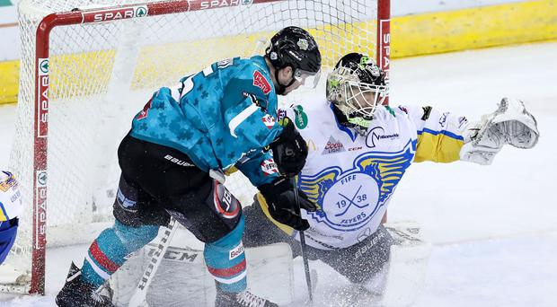 Belfast Giants Darcy Murphy with Fife Flyers Jordan Marr during Saturday night's Elite Ice Hockey League game at the SSE Arena, Belfast. 17th March 2018 - Photo by William Cherry/Presseye