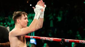 Michael Conlan celebrates after defeating David Berna at The Theatre at Madison Square Garden on St Patrick's Day.