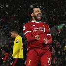 Liverpool's Mohamed Salah is entertaining team-mates as well as fans.