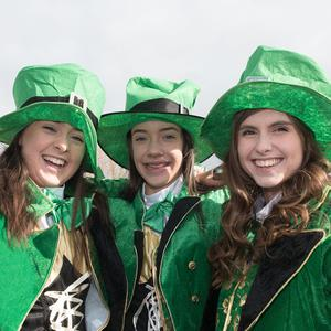 Amy Patterson, Rachel Black and Chloe Millen pictured during the St. Patrick's Spring Carnival celebrations in Strabane. Picture Martin McKeown. Inpresspics.com. 17.03.18