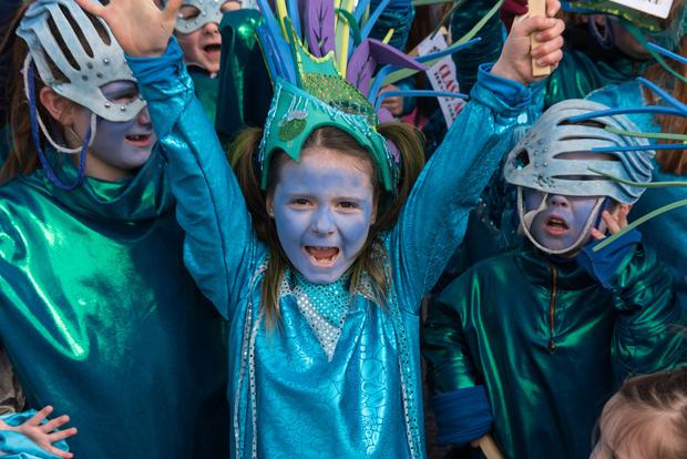 Lily Mae McGrath from Glass Act pictured during the St. Patrick's Spring Carnival celebrations in Strabane. Picture Martin McKeown. Inpresspics.com. 17.03.18