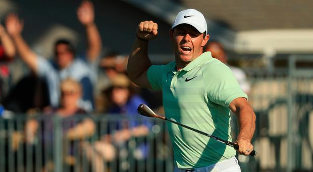 ORLANDO, FL - MARCH 18: Rory McIlroy of Northern Ireland reacts to his biride putt on the 15th green during the final round at the Arnold Palmer Invitational Presented By MasterCard at Bay Hill Club and Lodge on March 18, 2018 in Orlando, Florida. (Photo by Mike Ehrmann/Getty Images)